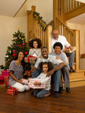African American family at Christmas Stock Photo