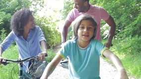African American Family On Cycle Ride In Countryside stock footage