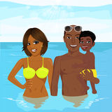 African american family enjoying vacation time resting at the resort Royalty Free Stock Image