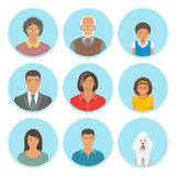 African American family faces flat vector avatars set. Icons of three family generations, mother and father, sons and daughters, grandmother, grandfather and a royalty free illustration