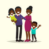 African American family. Father, mother, son and daughter. Vecto. R illustration of a flat design Stock Image