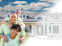 African American Family In Front of Drawing of New House Gradating Into Photograph. royalty free stock images