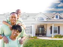 African American Family In Front of Drawing of New House Gradating Into Photograph. stock photo