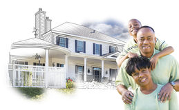 African American Family Over House Drawing and Photo on White Stock Photography