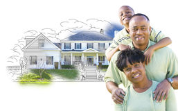 African American Family Over House Drawing and Photo on White Royalty Free Stock Photo