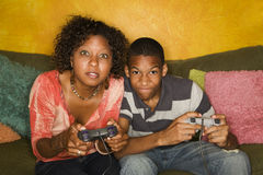 African-American family playing video game Stock Image
