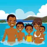 African American Family On Pool Royalty Free Stock Photo