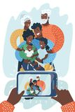 African american family take selfie on smartphone. Group portrait of happy african american multi generation family. Black family taking selfie with smartphone vector illustration
