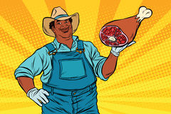 African American farmer with meat foot Stock Photography