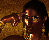 African American Fashion Beauty. Perfect for expressing themes of  fashion, diversity, hairstyles, beauty and makeup. A Gold abstract background enhances the Stock Image