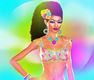 African American Fashion Beauty. Perfect for expressing themes of  fashion, diversity, hairstyles, beauty and makeup. A colorful abstract background enhances Stock Images