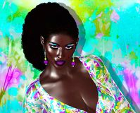 African American Fashion Beauty. A stunning colorful image of a beautiful woman with matching makeup, accessories and clothing against an abstract background Royalty Free Stock Photography