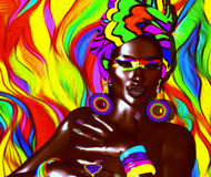 African American Fashion Beauty with colorful abstract background. African American Fashion Beauty.  Perfect for expressing themes of fashion, diversity Royalty Free Stock Images