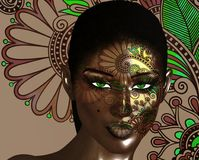 African American Fashion Beauty, green eyes. Perfect for themes of fashion, diversity, hairstyles, beauty and makeup. Floral abstract background enhances the Stock Photography