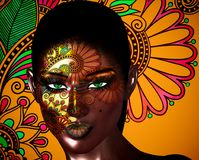 African American Fashion Beauty, green eyes. Perfect for themes of fashion, diversity, hairstyles, beauty and makeup. Floral abstract background enhances the Stock Images