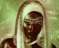 African American Fashion Beauty with head veil and glitter cosmetics. Perfect for expressing themes of fashion,diversity,hairstyles,beauty and makeup. 3d Royalty Free Stock Images