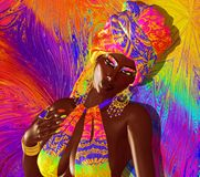 African Queen, Fashion Beauty. African American Fashion Beauty with head veil and glitter cosmetics. Perfect for expressing themes of fashion,diversity Royalty Free Stock Images