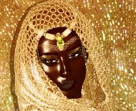 African Queen, Fashion Beauty. African American Fashion Beauty with head veil and glitter cosmetics. Perfect for expressing themes of fashion,diversity Royalty Free Stock Image