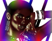 African American Fashion Beauty. Perfect for expressing themes of  fashion, diversity, hairstyles, beauty and makeup. A colorful abstract background enhances Stock Photography