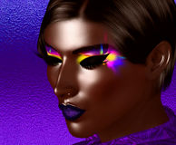 African American Fashion Beauty. Perfect for expressing themes of  fashion, diversity, hairstyles, beauty and makeup. A colorful abstract background enhances Royalty Free Stock Images