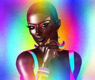 African American Fashion Beauty. A stunning colorful image of a beautiful woman with matching makeup, accessories and clothing. African American Fashion Beauty royalty free illustration