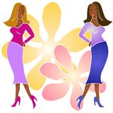 African American Fashion Girls royalty free illustration