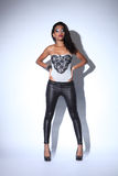 African american fashion model in black leggings stock image