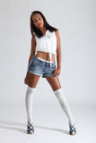 African American Fashion Model Denim Shorts Stock Photos