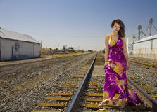 African American Fashion Model on Railroad Tracks Stock Photos