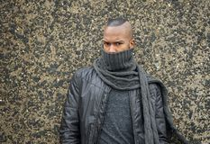 African american fashion model with scarf covering face Royalty Free Stock Photography