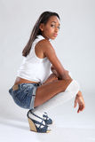 African american fashion model sulky pose Royalty Free Stock Image