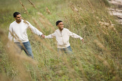 Free African-American Father And Son Walking Stock Photos - 12825343