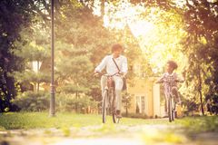 Riding bike. stock images