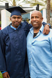African American Father and son on Graduation Day Stock Image