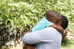 African American father and son. Stock Photo