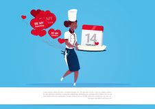 African American Female Cook Holding Cake With Calendar For Happy Valentines Day Celebration 14 February Holiday Concept. Flat Vector Illustration Vector Illustration