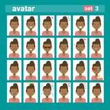 African American Female Different Emotion Set Profile Icon, Woman Cartoon Portrait Face Collection Royalty Free Stock Photos