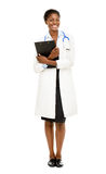 African American female doctor full length isolated on white bac Stock Photos