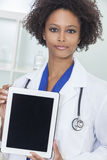 African American Female Doctor & Tablet Computer Stock Photo