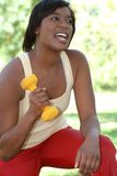 African-American Female Exercising Oudoors Stock Images