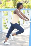 African-American Female Exercising Outdoors Stock Photo