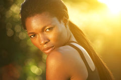 African american female fashion model posing outside Royalty Free Stock Photos