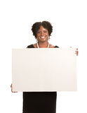 African American Female Holding Blank Board Royalty Free Stock Photo