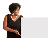African American Female Holding Blank Board Royalty Free Stock Images