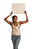 African American Female Holding Blank Board Stock Photography