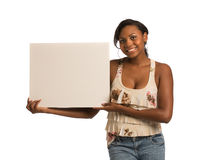 African American Female Holding Blank Board Royalty Free Stock Photography