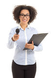 African american female journalist with microphone taking interv Royalty Free Stock Image