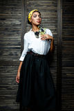 African american  female model with flower Royalty Free Stock Photos