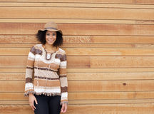 African american female smiling with autumn colors clothing Royalty Free Stock Photography