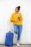 African american female traveler standing outdoors Royalty Free Stock Image